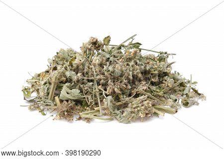 Dried Melissa Herbs Pile. Dry Lemon Balm Plant Heap On White. Alternative Medicine.