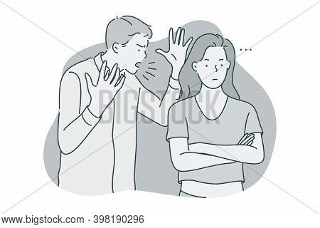 Misunderstanding, Quarrelling, Fighting Concept. Young Unhappy Couple Fighting With Each Other, Scre