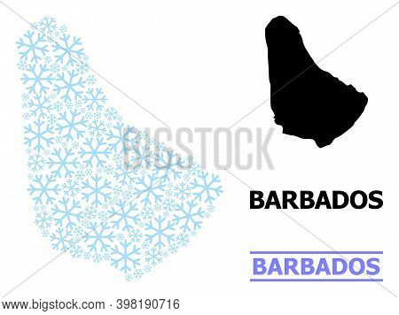 Vector Collage Map Of Barbados Organized For New Year, Christmas Celebration, And Winter. Mosaic Map