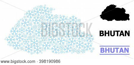Vector Mosaic Map Of Bhutan Done For New Year, Christmas Celebration, And Winter. Mosaic Map Of Bhut