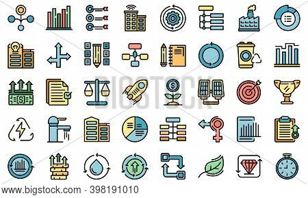 Sustainable Development Icons Set. Outline Set Of Sustainable Development Vector Icons Thin Line Col