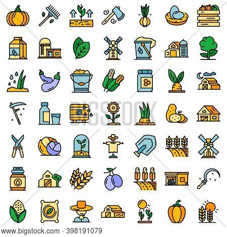 Eco Farming Icons Set. Outline Set Of Eco Farming Vector Icons Thin Line Color Flat On White