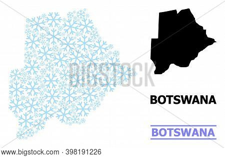 Vector Collage Map Of Botswana Combined For New Year, Christmas Celebration, And Winter. Mosaic Map