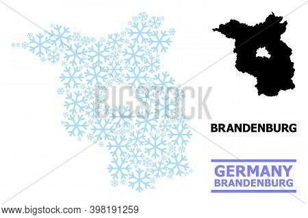 Vector Mosaic Map Of Brandenburg State Designed For New Year, Christmas Celebration, And Winter. Mos