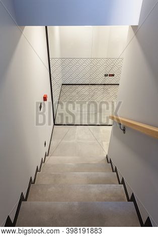 Details Of Modern And Simple Staircase, Way To Underground Part.