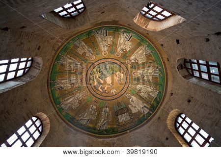Ceiling Mosaic Of The Arian Baptistery
