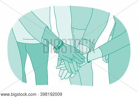 Unity, Partnership, Teamwork Concept. Hands Of Diverse People Partners Or Friends In Forming Stack A