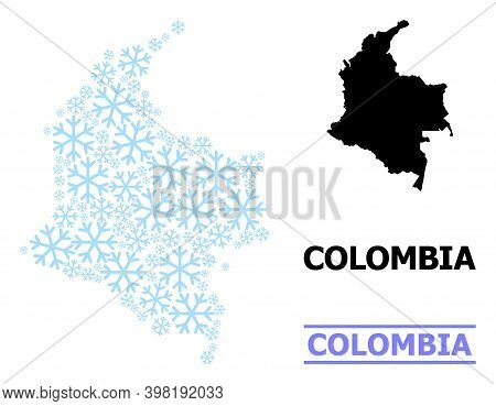 Vector Mosaic Map Of Colombia Combined For New Year, Christmas Celebration, And Winter. Mosaic Map O