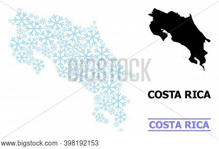 Vector Mosaic Map Of Costa Rica Combined For New Year, Christmas Celebration, And Winter. Mosaic Map