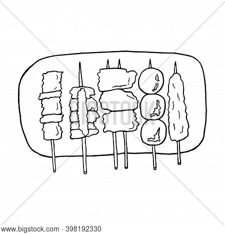 Vector Hand Drawn Doodle Yakitori. Japanese Barbecue. Design Sketch Element For Menu Cafe, Restauran
