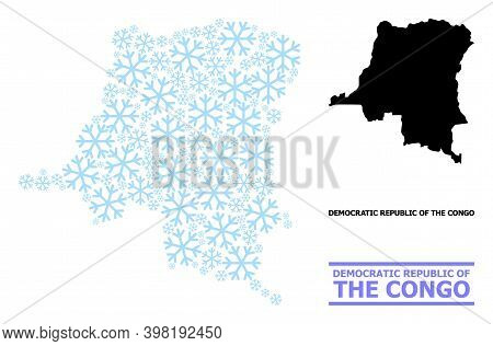 Vector Mosaic Map Of Democratic Republic Of The Congo Organized For New Year, Christmas Celebration,