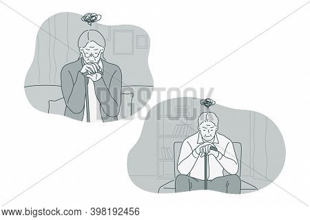 Sadness, Mental Depression, Loneliness Concept. Old Elderly Unhappy People Sitting At Home Feeling L