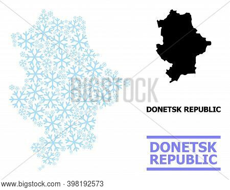 Vector Mosaic Map Of Donetsk Republic Created For New Year, Christmas Celebration, And Winter. Mosai