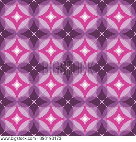 Star Shapes Background Vector Abstract Design. Geometric Seamless Pattern In Lilac, Violet, Pink Col