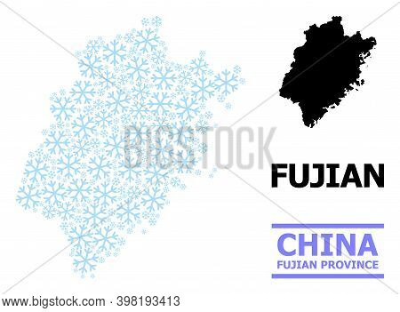 Vector Mosaic Map Of Fujian Province Created For New Year, Christmas Celebration, And Winter. Mosaic