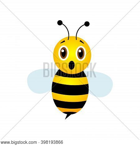 Scared Bee Character. Cute Frighten Bee With Open Mouth. Vector Illustration.