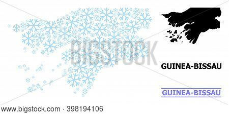 Vector Mosaic Map Of Guinea-bissau Created For New Year, Christmas Celebration, And Winter. Mosaic M