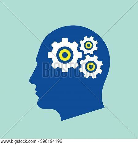 Head With Gears Concept Logo Design. Seo Engine Optimization Sign. Creative Idea Generation Icon. In