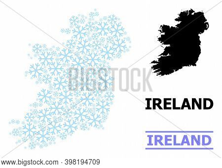 Vector Mosaic Map Of Ireland Island Created For New Year, Christmas Celebration, And Winter. Mosaic