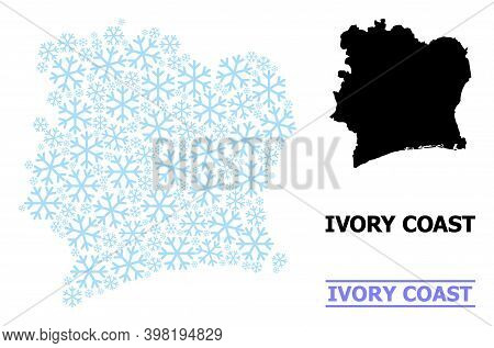 Vector Mosaic Map Of Ivory Coast Created For New Year, Christmas Celebration, And Winter. Mosaic Map