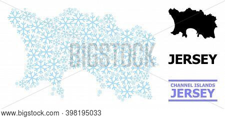 Vector Mosaic Map Of Jersey Island Designed For New Year, Christmas Celebration, And Winter. Mosaic
