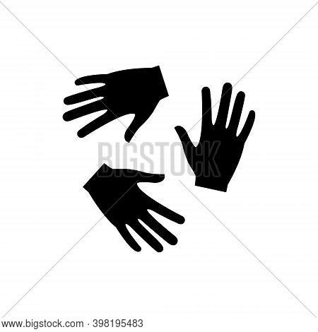 Hands Together In Round Shape. Humanitarian Assistance Black Silhouette. Voluntary, Charity, Donatio