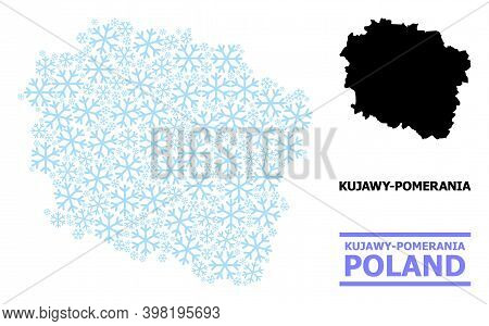 Vector Collage Map Of Kujawy-pomerania Province Organized For New Year, Christmas Celebration, And W
