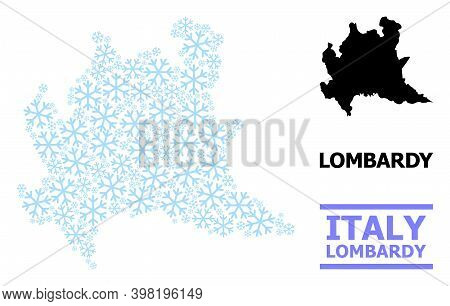Vector Mosaic Map Of Lombardy Region Constructed For New Year, Christmas Celebration, And Winter. Mo