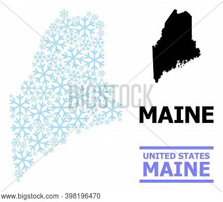 Vector Mosaic Map Of Maine State Created For New Year, Christmas Celebration, And Winter. Mosaic Map