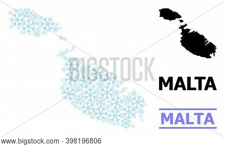Vector Mosaic Map Of Malta Created For New Year, Christmas Celebration, And Winter. Mosaic Map Of Ma
