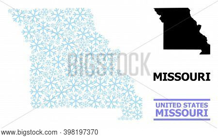 Vector Collage Map Of Missouri State Constructed For New Year, Christmas Celebration, And Winter. Mo
