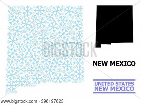 Vector Mosaic Map Of New Mexico State Done For New Year, Christmas Celebration, And Winter. Mosaic M