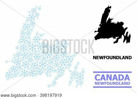 Vector Mosaic Map Of Newfoundland Island Constructed For New Year, Christmas Celebration, And Winter