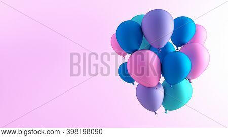 Celebration Copy Space with Balloons as Template Background 3d Render