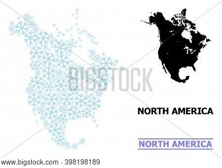 Vector Mosaic Map Of North America Done For New Year, Christmas Celebration, And Winter. Mosaic Map