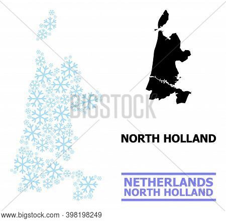 Vector Mosaic Map Of North Holland Combined For New Year, Christmas Celebration, And Winter. Mosaic