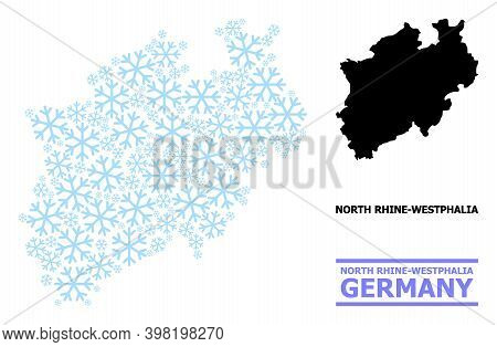 Vector Composition Map Of North Rhine-westphalia State Organized For New Year, Christmas Celebration