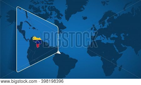 Location Of Venezuela On The World Map With Enlarged Map Of Venezuela With Flag. Geographical Vector