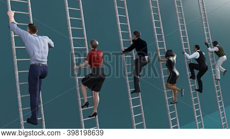 Business Competition with People Going Up Career Ladder 3d Render