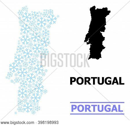 Vector Mosaic Map Of Portugal Done For New Year, Christmas Celebration, And Winter. Mosaic Map Of Po