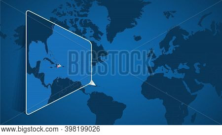 Location Of Dominican Republic On The World Map With Enlarged Map Of Dominican Republic With Flag. G