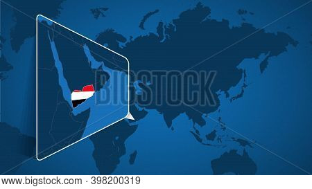 Location Of Yemen On The World Map With Enlarged Map Of Yemen With Flag. Geographical Vector Templat