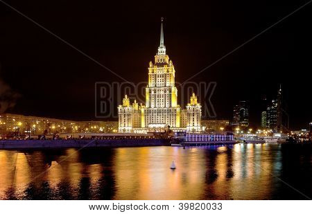 night view of Stalin's vysotka on Taras Shevchenko embankment in Moscow Russia poster