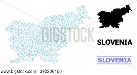 Vector Mosaic Map Of Slovenia Done For New Year, Christmas Celebration, And Winter. Mosaic Map Of Sl