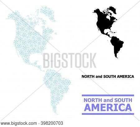 Vector Mosaic Map Of South And North America Done For New Year, Christmas Celebration, And Winter. M