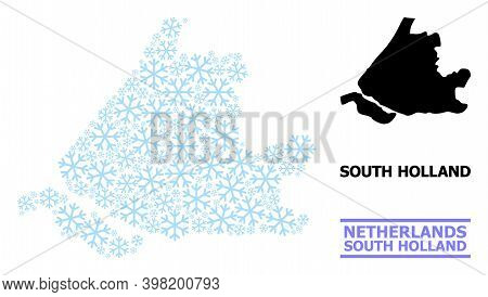 Vector Mosaic Map Of South Holland Constructed For New Year, Christmas Celebration, And Winter. Mosa