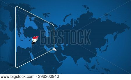Location Of Syria On The World Map With Enlarged Map Of Syria With Flag. Geographical Vector Templat