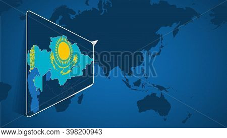 Location Of Kazakhstan On The World Map With Enlarged Map Of Kazakhstan With Flag. Geographical Vect
