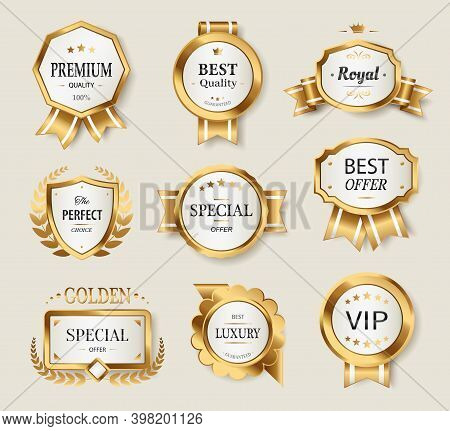 Gold Labels Set, Glossy Labels. Realistic Elegant Sale Frame Badge And Label Vector Collection. Luxu