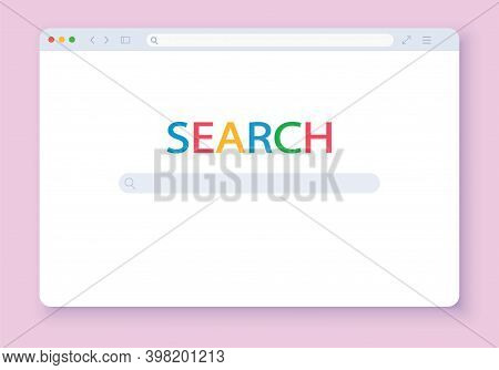 Web Simple Browser Window, Pink Background. Browser Interface Vector Illustration.